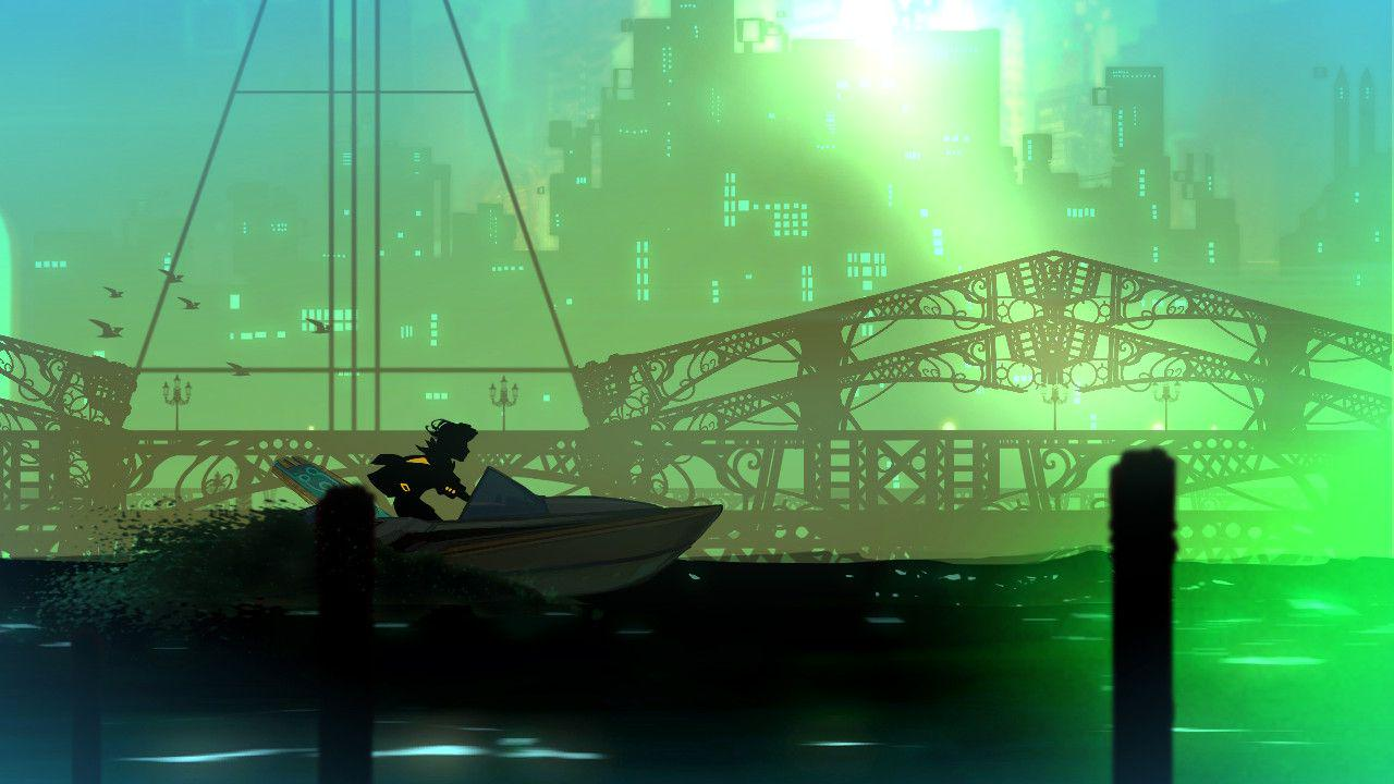 Red is on a small ski-do, her silhouette black against the blueish green water, and the greyish outline of the city-scape behind her. in the distance you can see large buildings, a draw bridge, and birds flying in the sky.