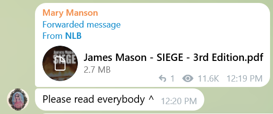 Mary links a forwarded Telegram message from NLB which is a download link for James Mason Siege 3rd Edition. She adds, Please read everybody.