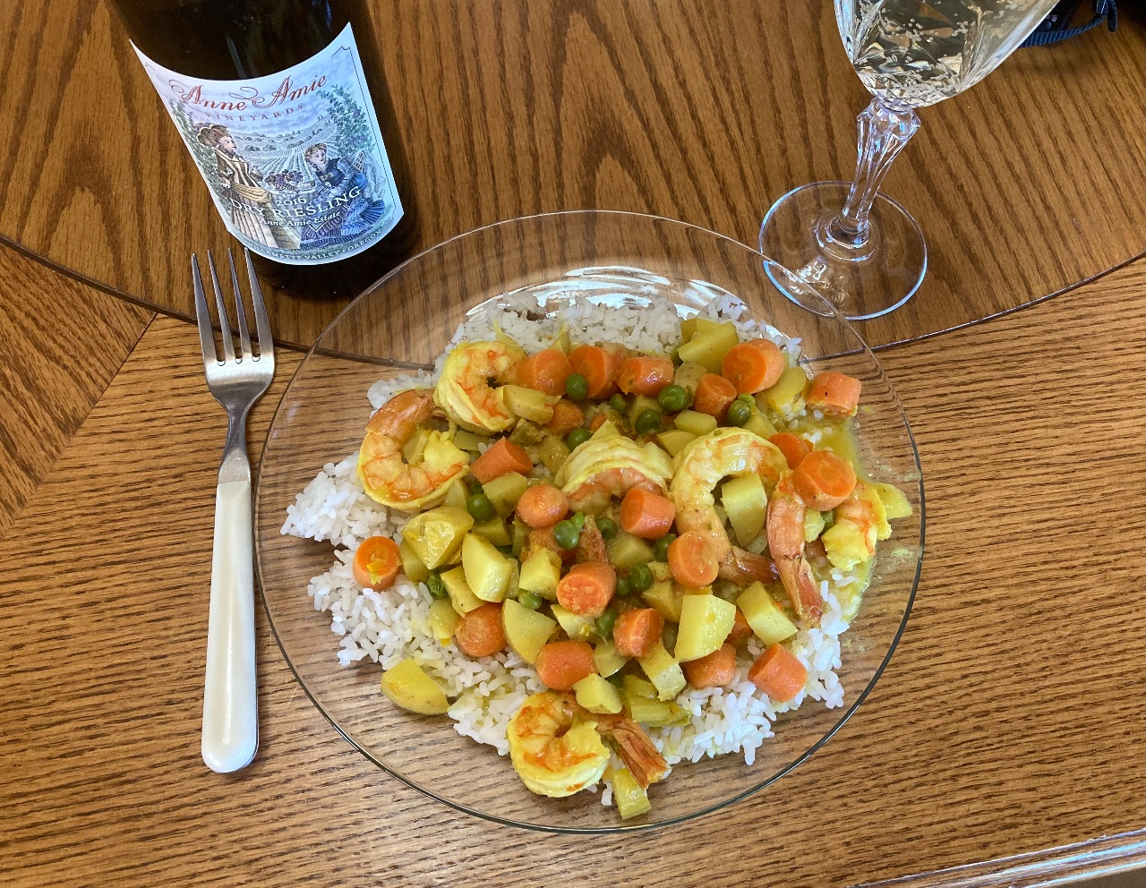 Curry shrimp with Anne Amie Dry Riesling.