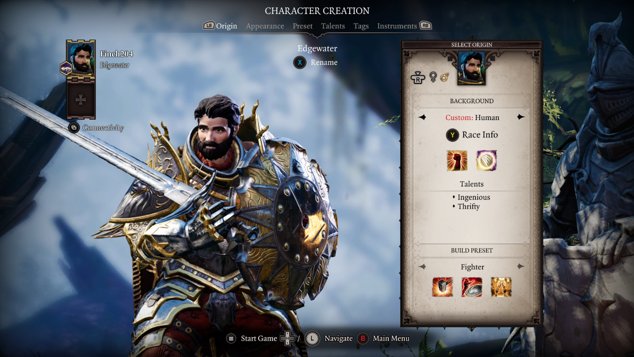 Character creation closeup