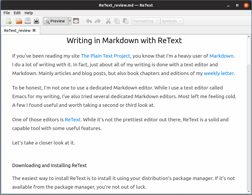Previewing a document in ReText