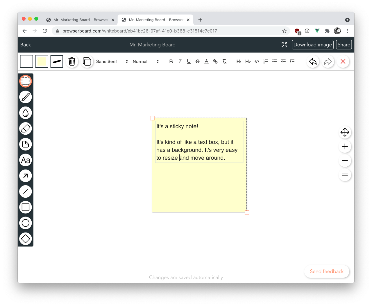 Screenshot of sticky note tools