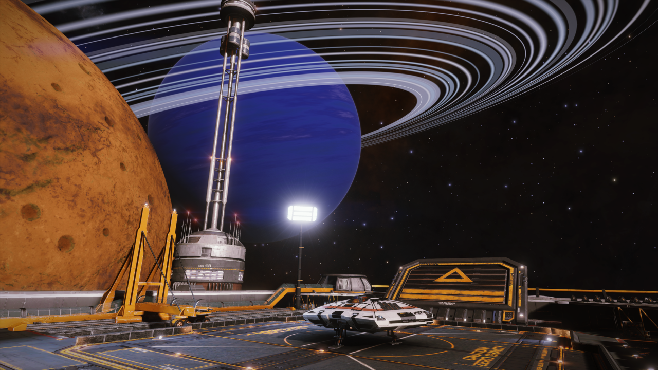 Elite Dangerous - docked on an outpost with a great view of a blue planet.