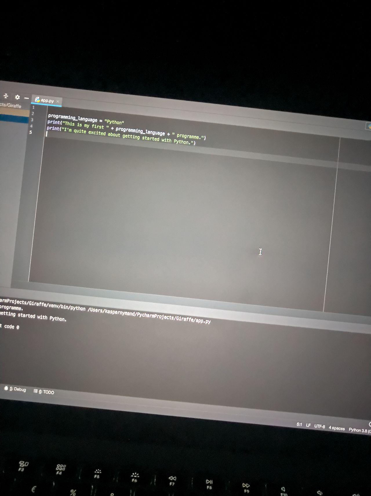 My first Python programme in a Python IDE