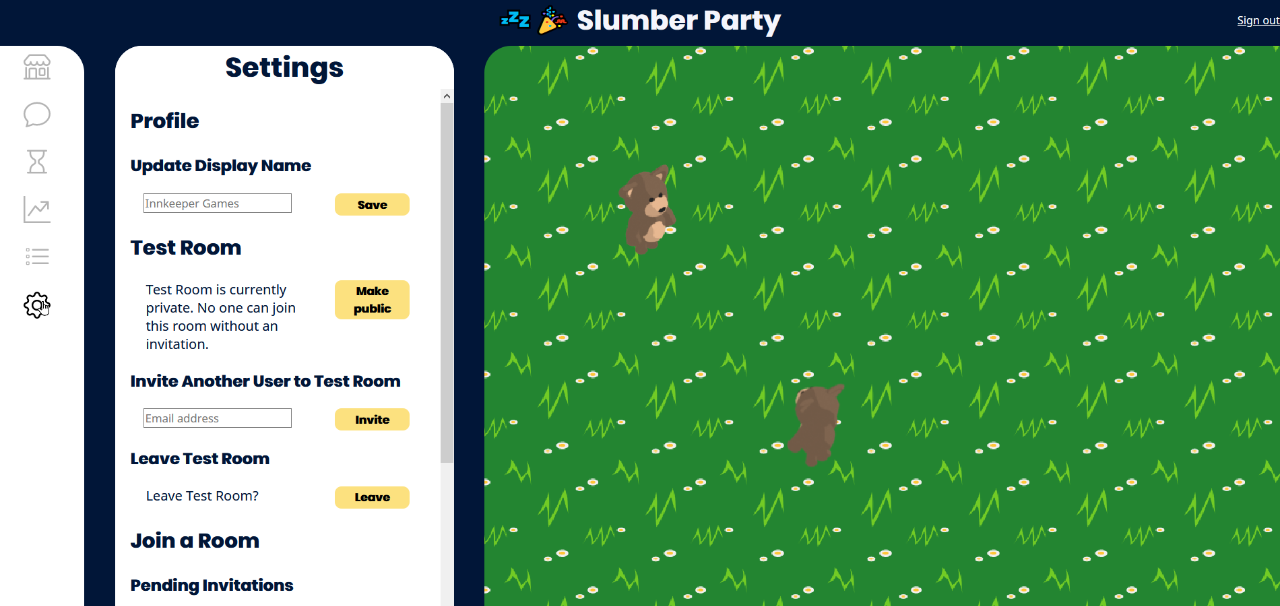 The Settings tab of Slumber Party.