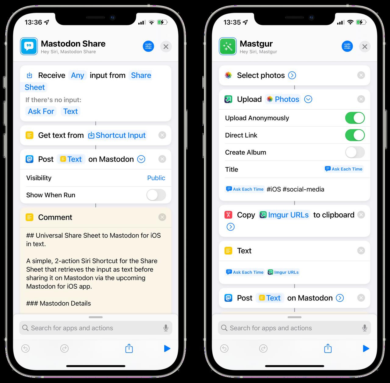 Siri Shortcuts for Mastodon for iOS