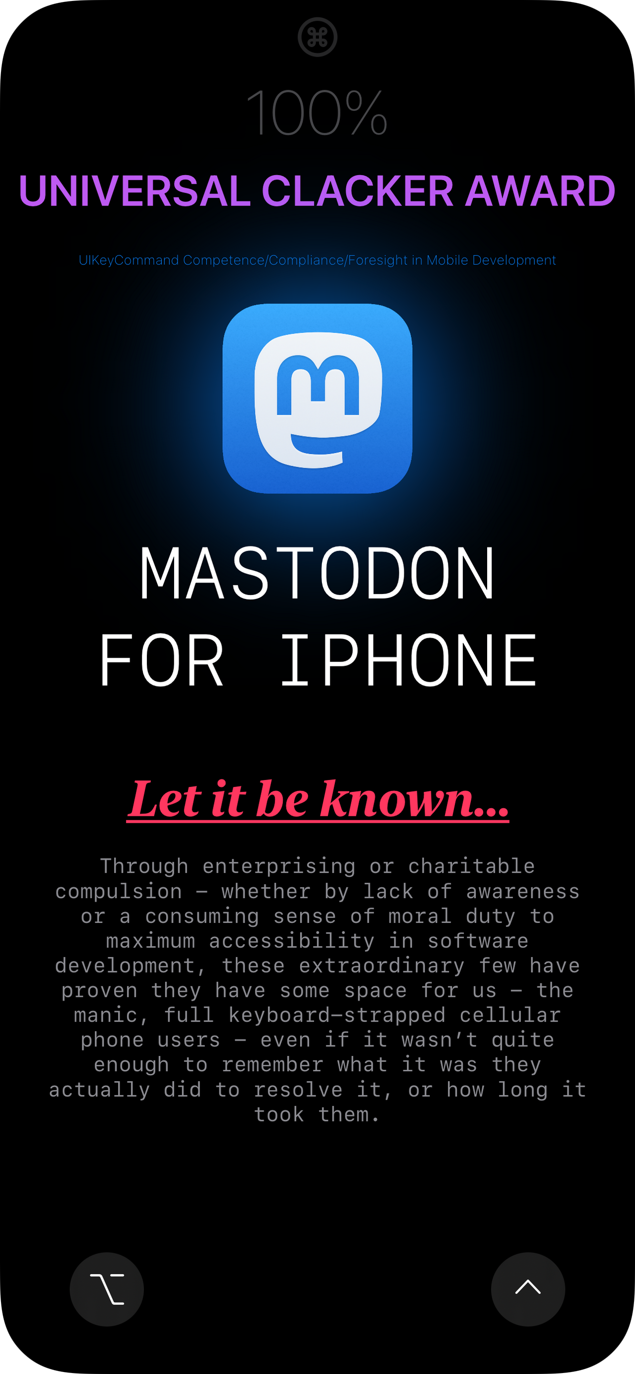 Mastodon for iPhone - Universal Clacker Award
