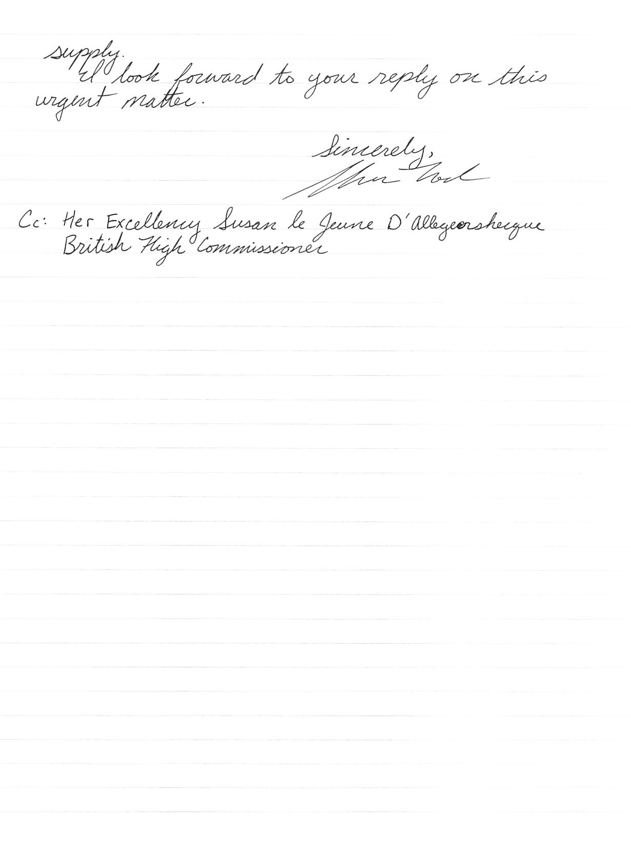 hand written letter, page 2