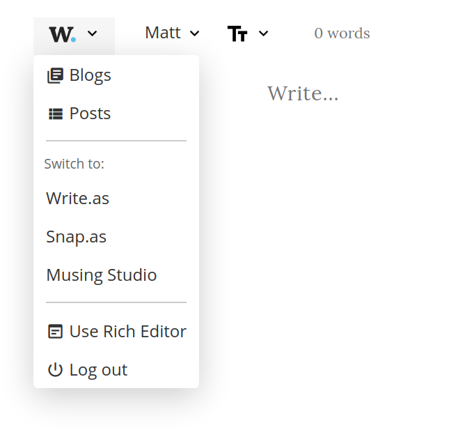 Screenshot of the plain text editor with the 'w' menu open, showing the options to 'Switch to' other teams