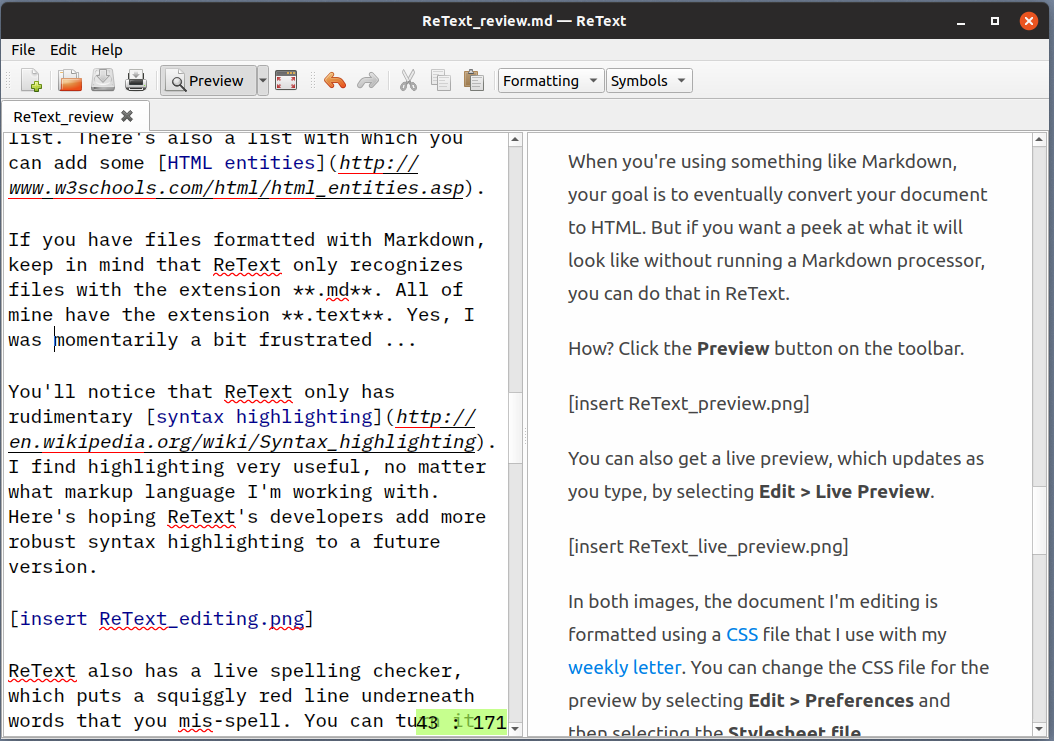 A live preview of a document in ReText