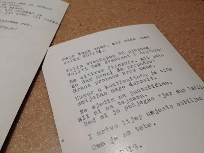 poem written on a typewriter