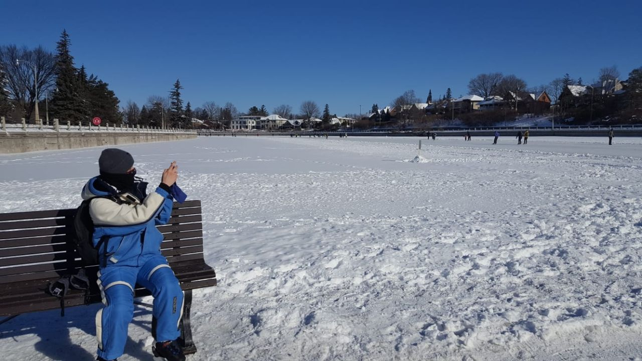 Getting some rest at the Rideau Canal Skateway, 2021