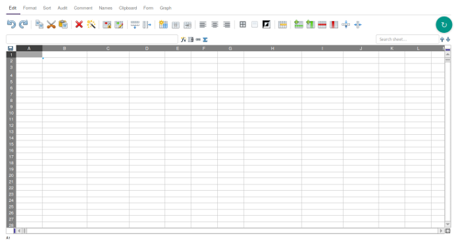 A new, empty spreadsheet in EtherCalc