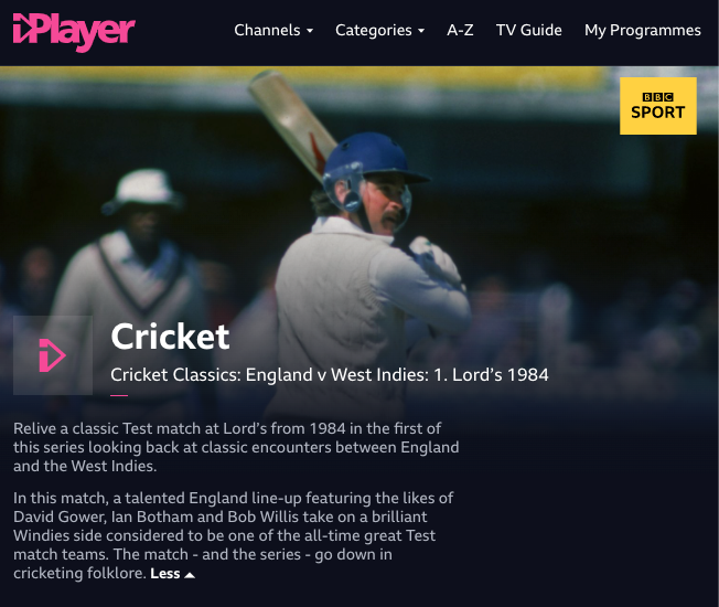 Screnshot of the iplayer page