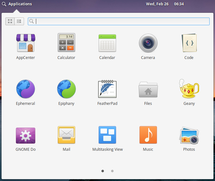 Some of the applications in Elementary OS