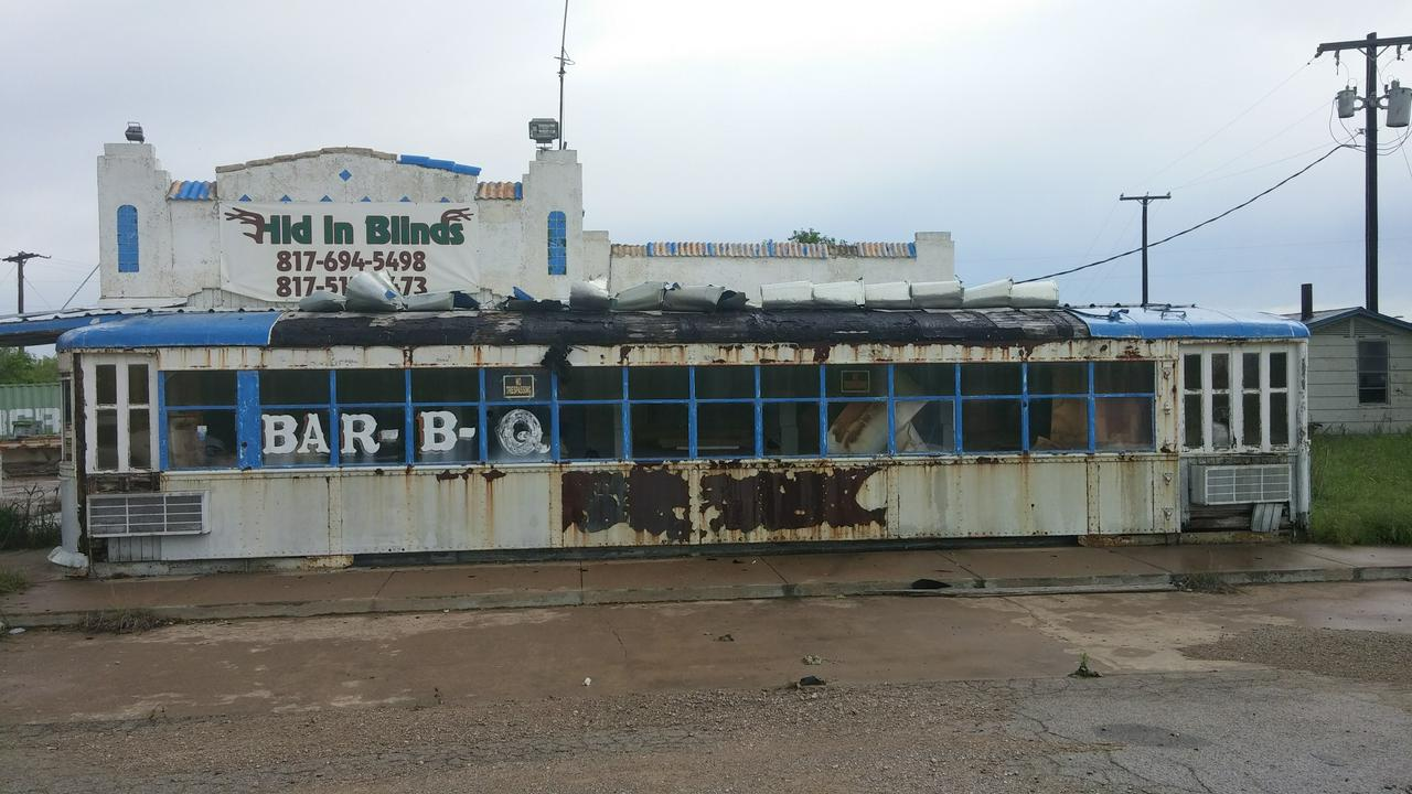 abandoned BBQ diner somewhere on I-20 between Midland and Fort Worth, TX