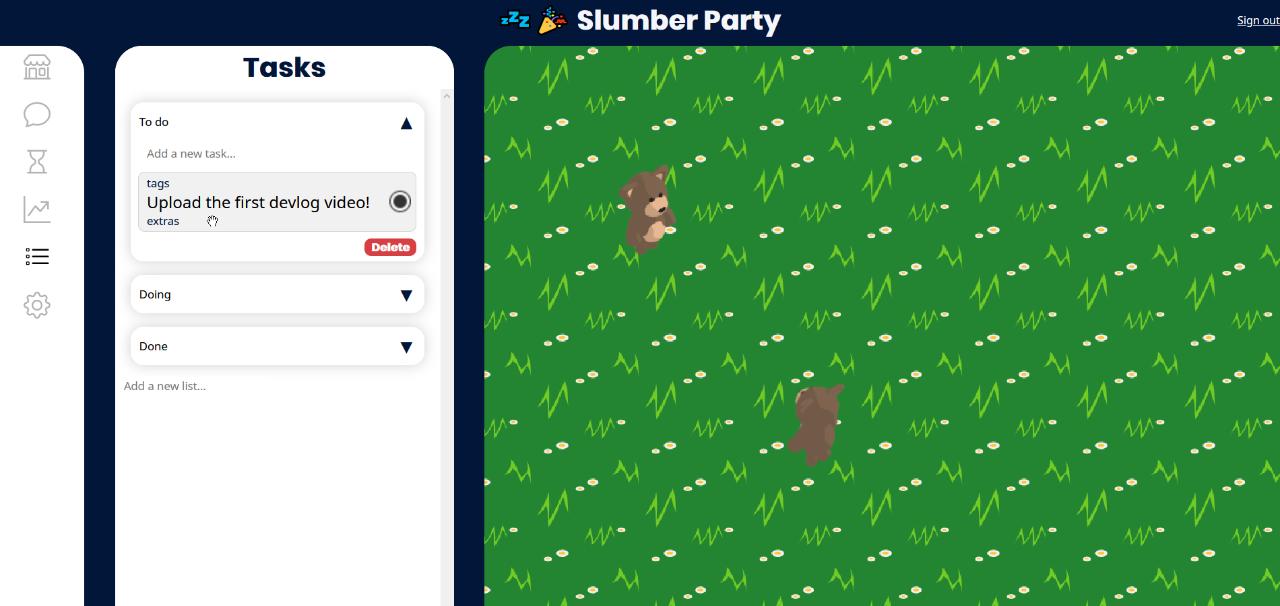 The Tasks tab of Slumber Party.