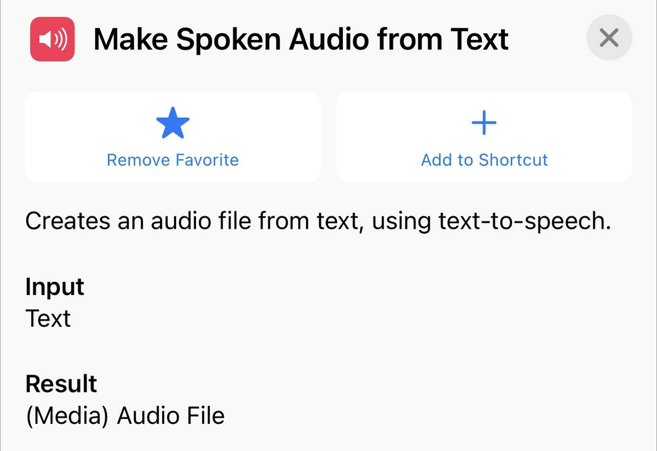 Make Spoken Audio From Text Action - iOS 15