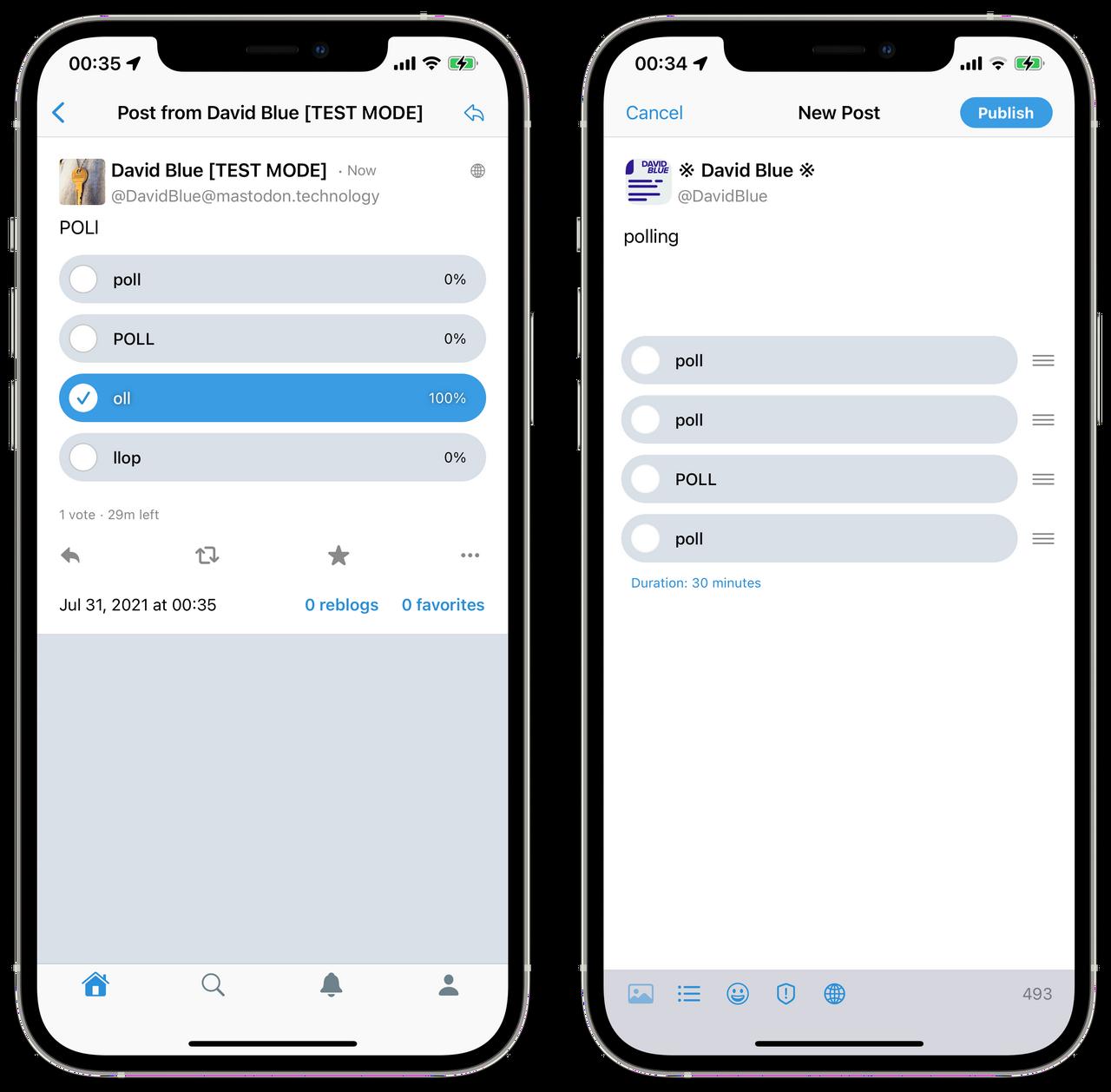 Polling in Mastodon for iOS
