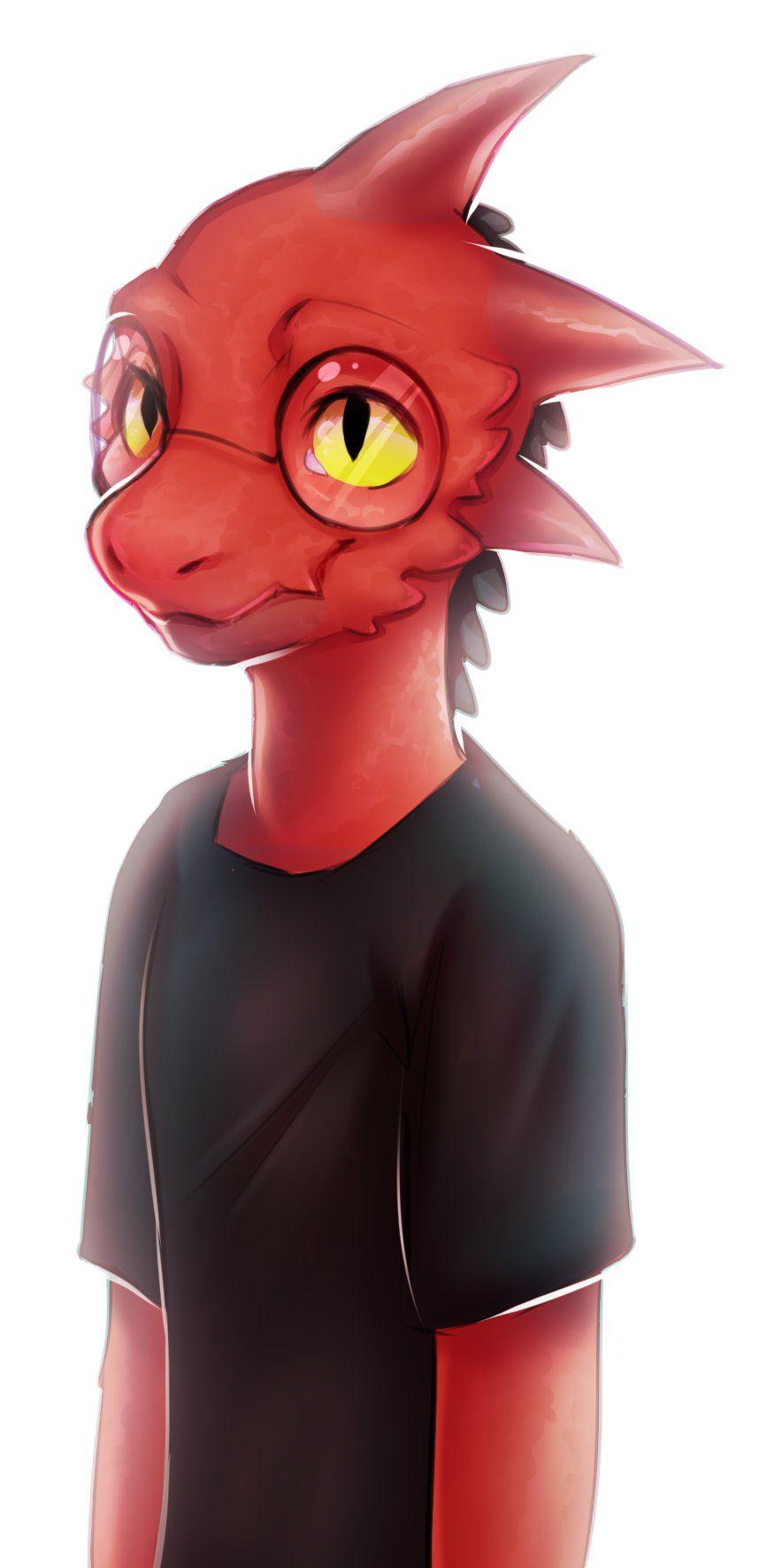 A cute bespectacled kobold in a black shirt, by cryptidilrl on twitter.