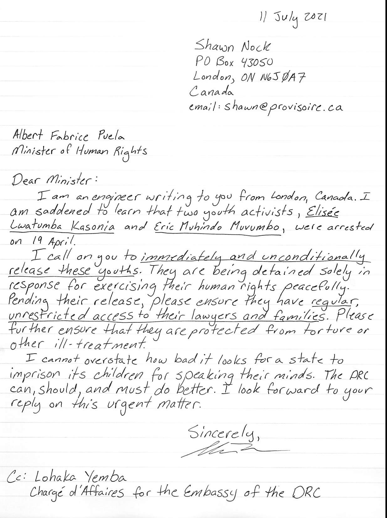 hand-written letter, transcript follows