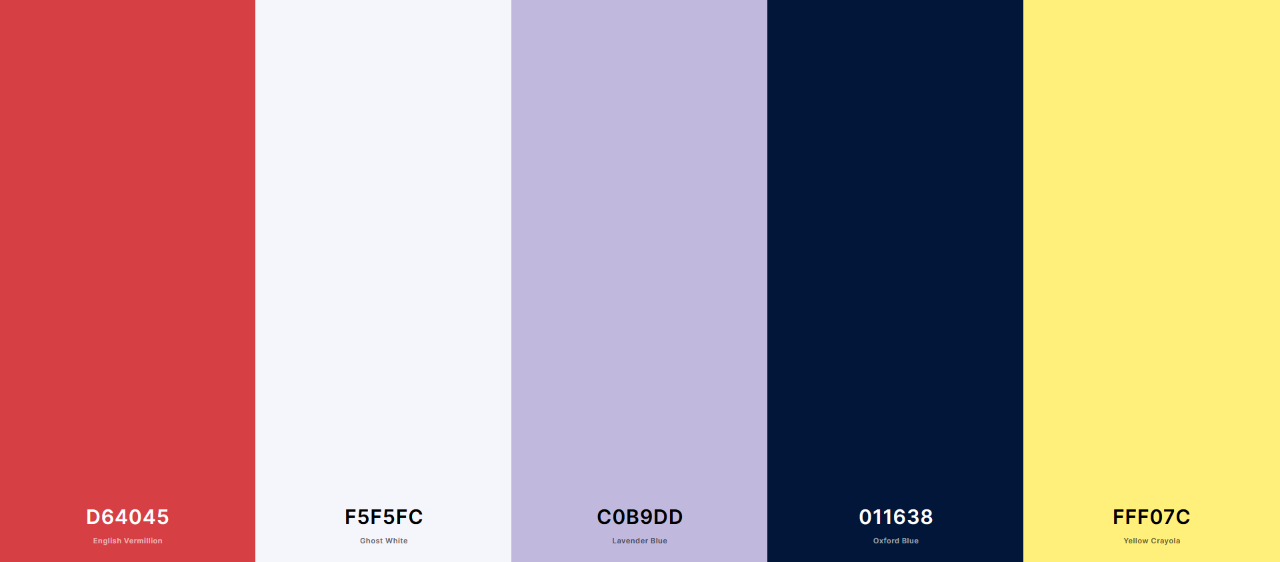 The color palette I created, with (from left to right), red (English Vermillion), a bluish off-white color (ghost white), Languid Lavender, Oxford Blue and Yellow Crayola