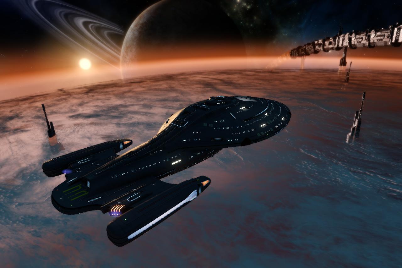 USS Bataan over New Khittomer