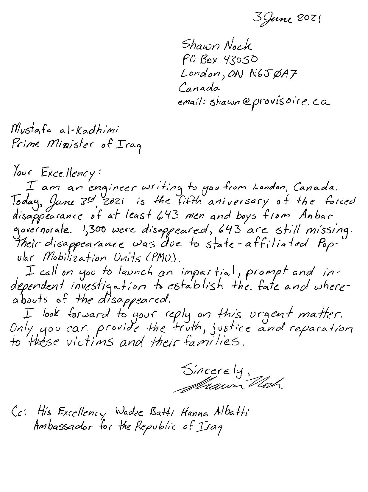 handwritten letter, transcript follows
