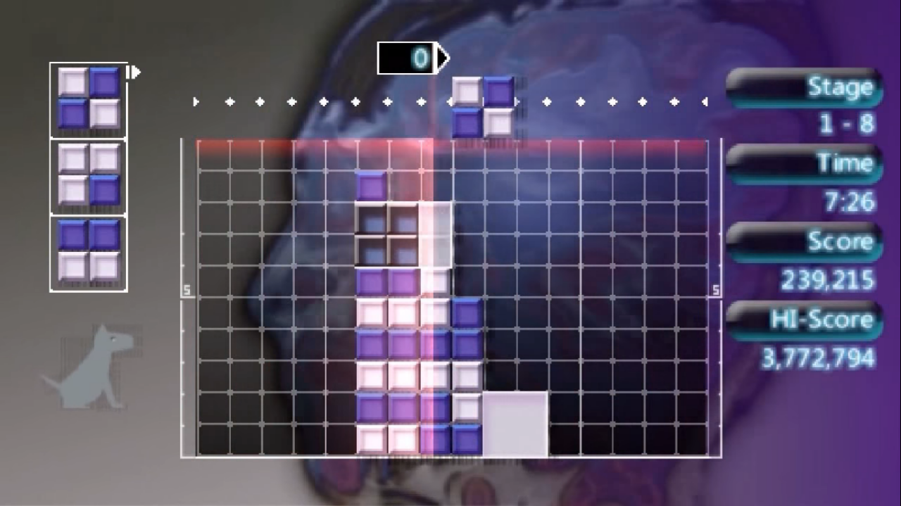 Gameplay of the purple and white theme Kabuki. The background features some liquid the shape of a head.