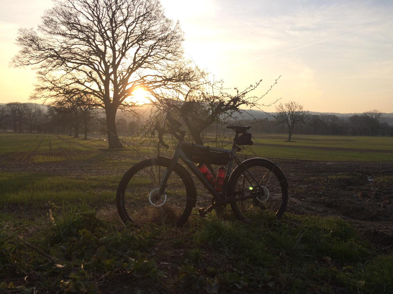 A gravel bike silhouetted against trees and hills at sunrise