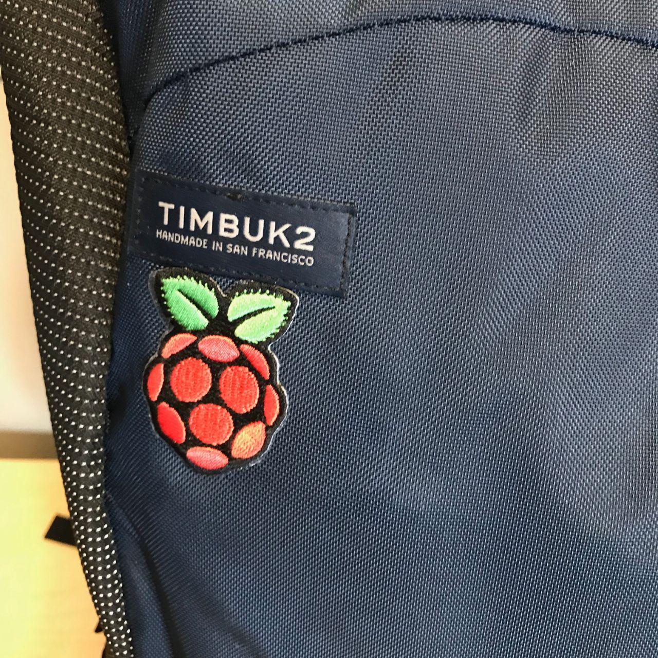 Raspberry  Pi Logo on a Timbuk2 Backpack