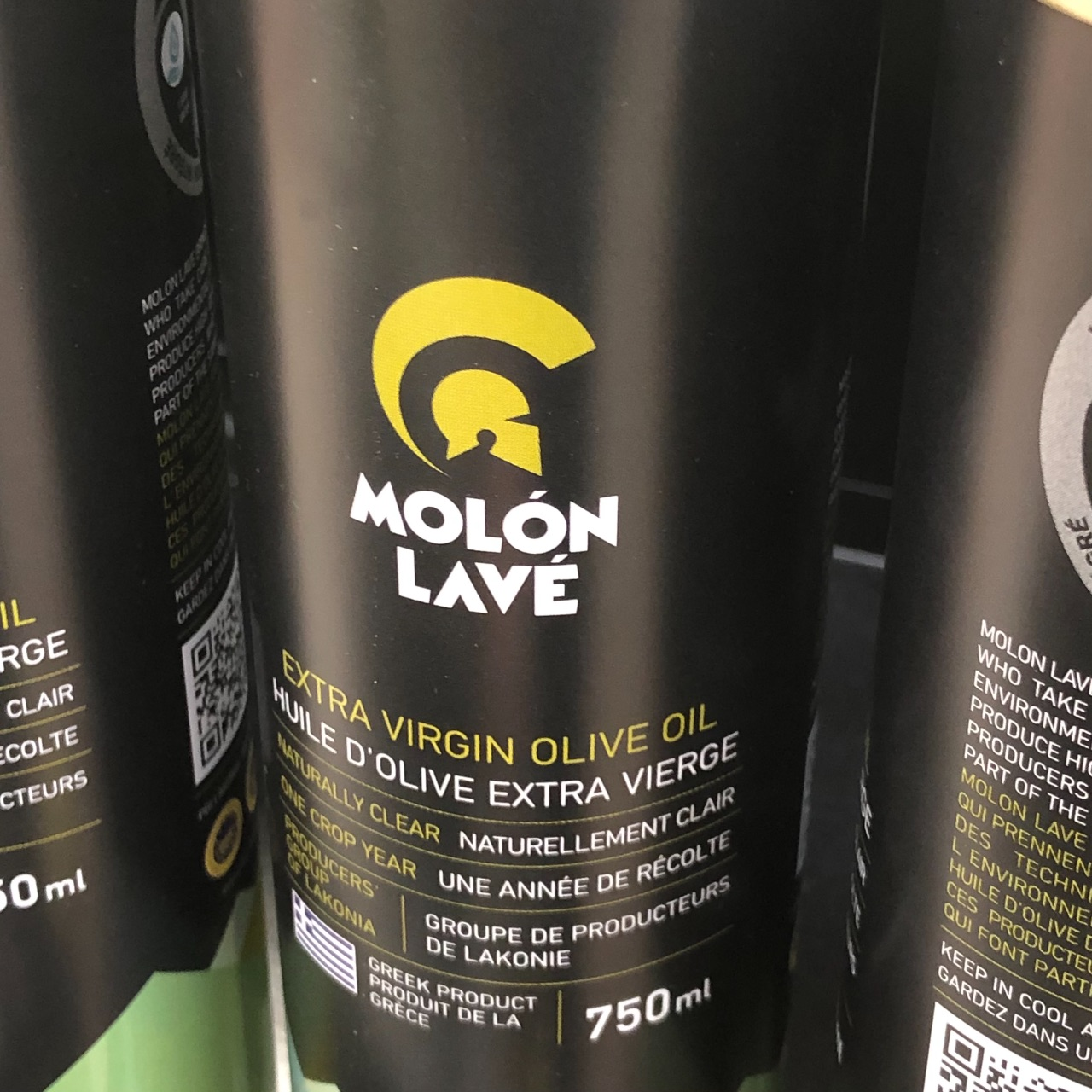 Photo of a bottle of olive oil called Molòn Lavè