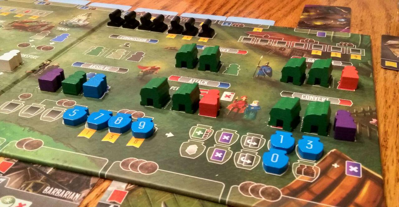 A player board towards end-of-game.