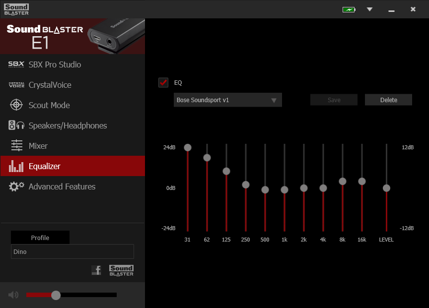 Equalizer settings for Bose Soundsport wired earphones.