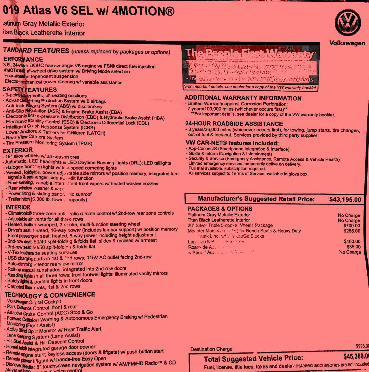 2019 Volkswagen Atlas V6 SEL 4Motion Options as Tested