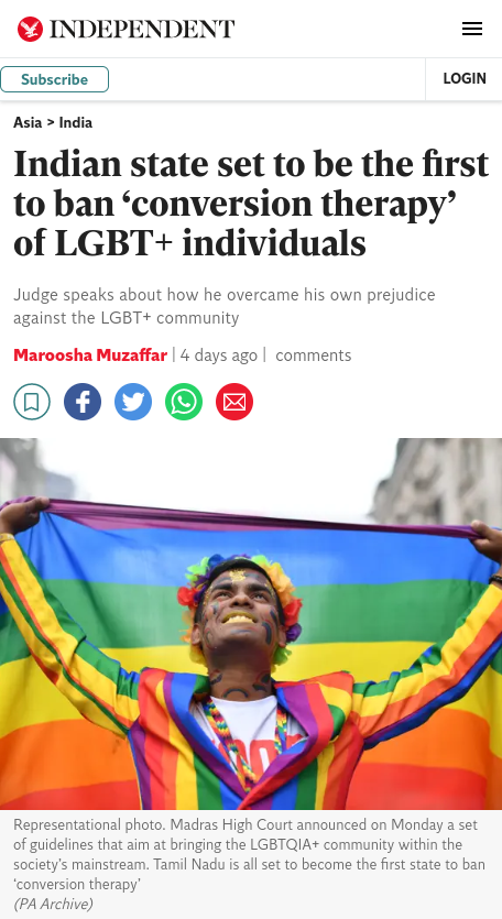 Screenshot of an article on The Independent website, headlined, Indian state set to be the first to ban conversion therapy of LGBT-plus individuals
