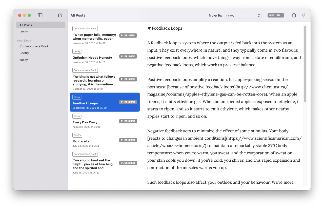 A screenshot of WriteFreely for Mac.