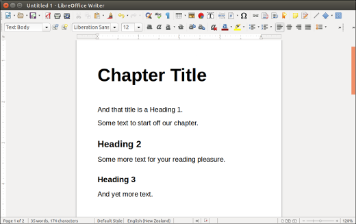 How the styles look in a LibreOffice Writer document
