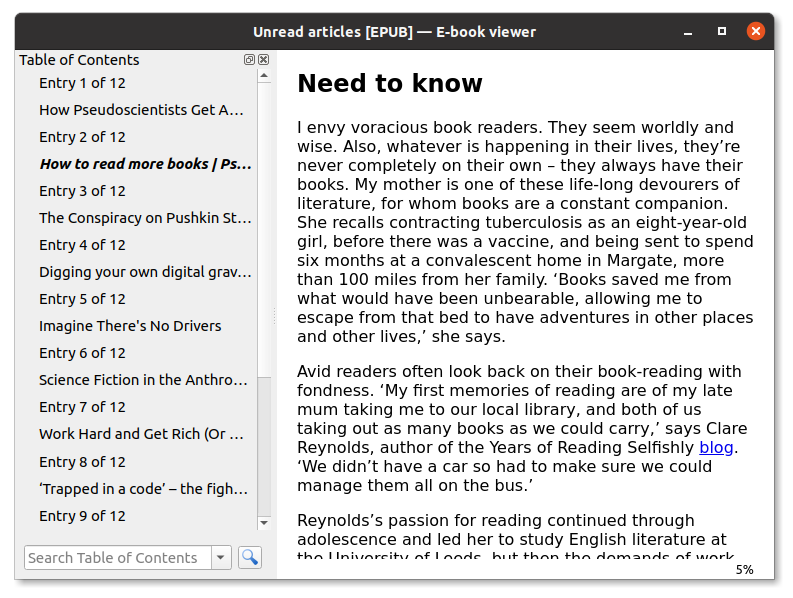 Reading an EPUB generated with wallabag
