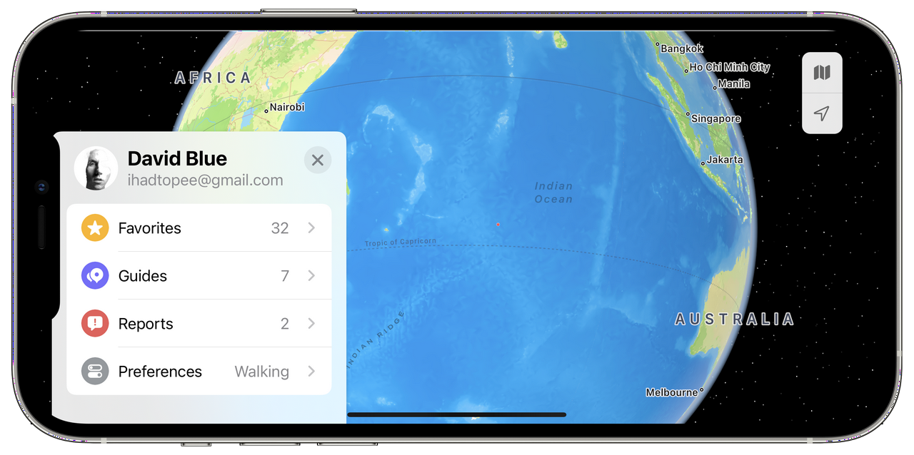 Apple Maps User Account in iOS 15