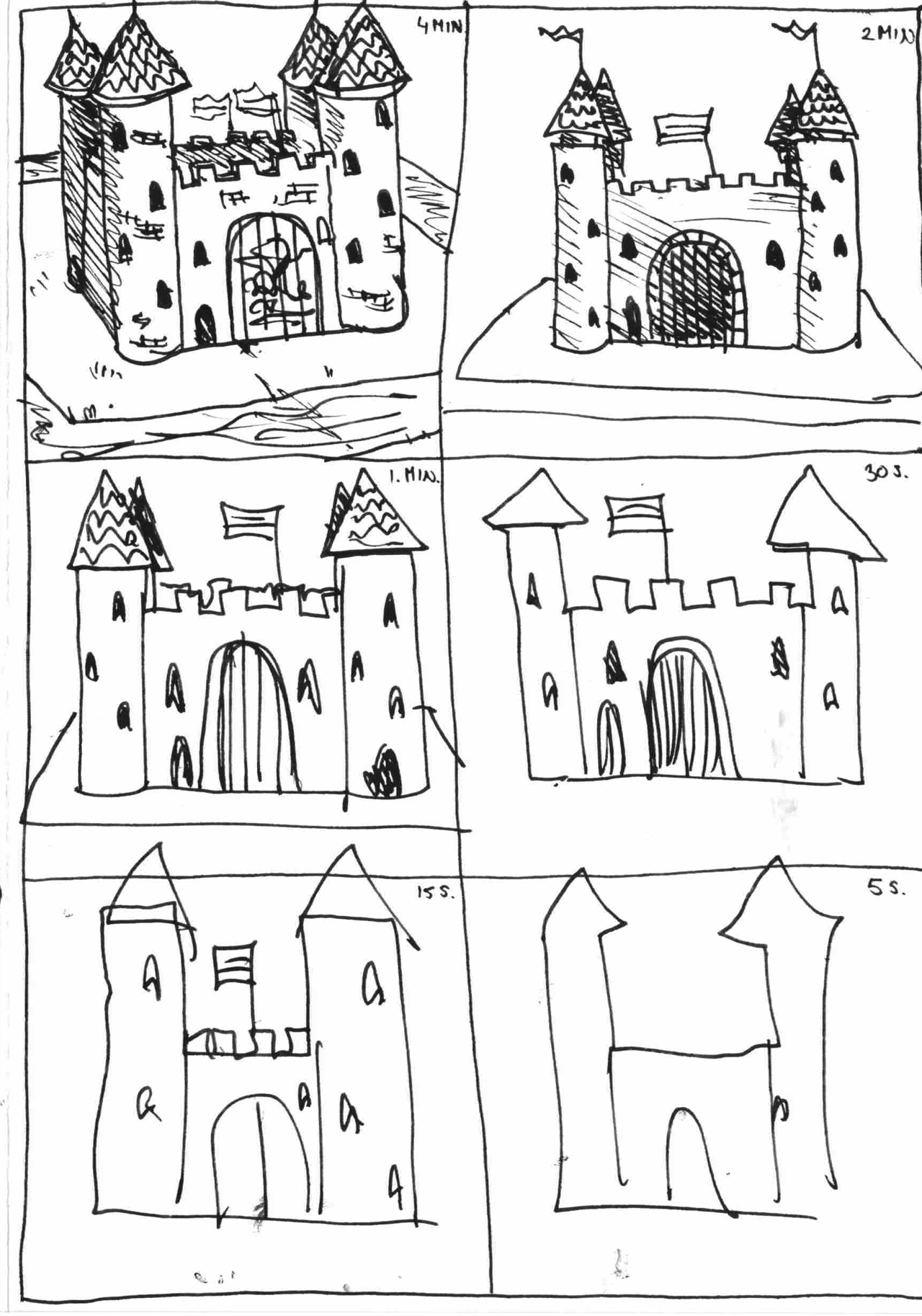 6 drawings of a castle