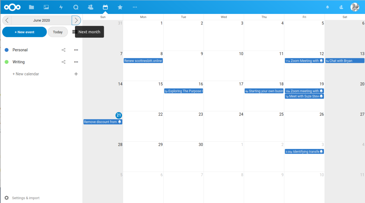 An example of my calendar in Nextcloud
