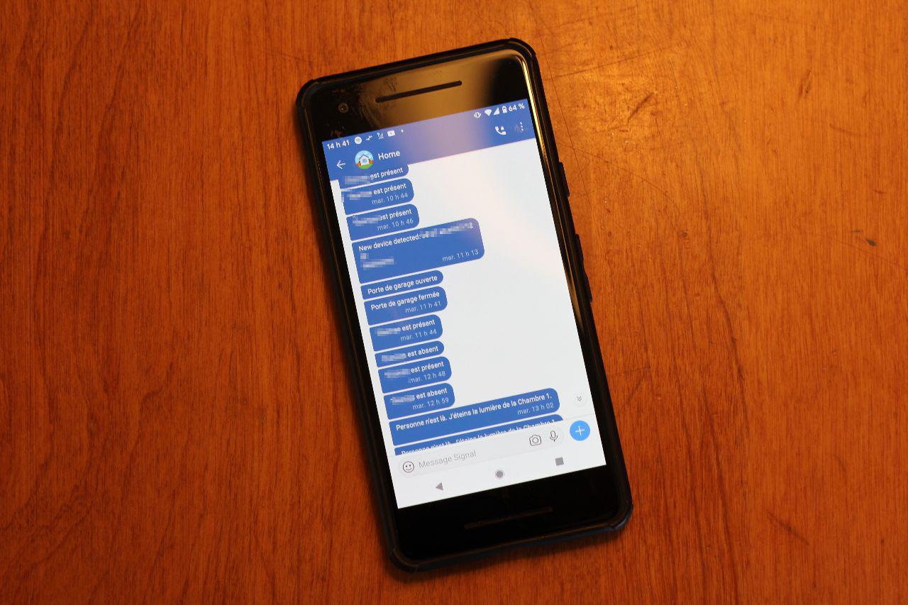 Exemples de notifications sur Signal