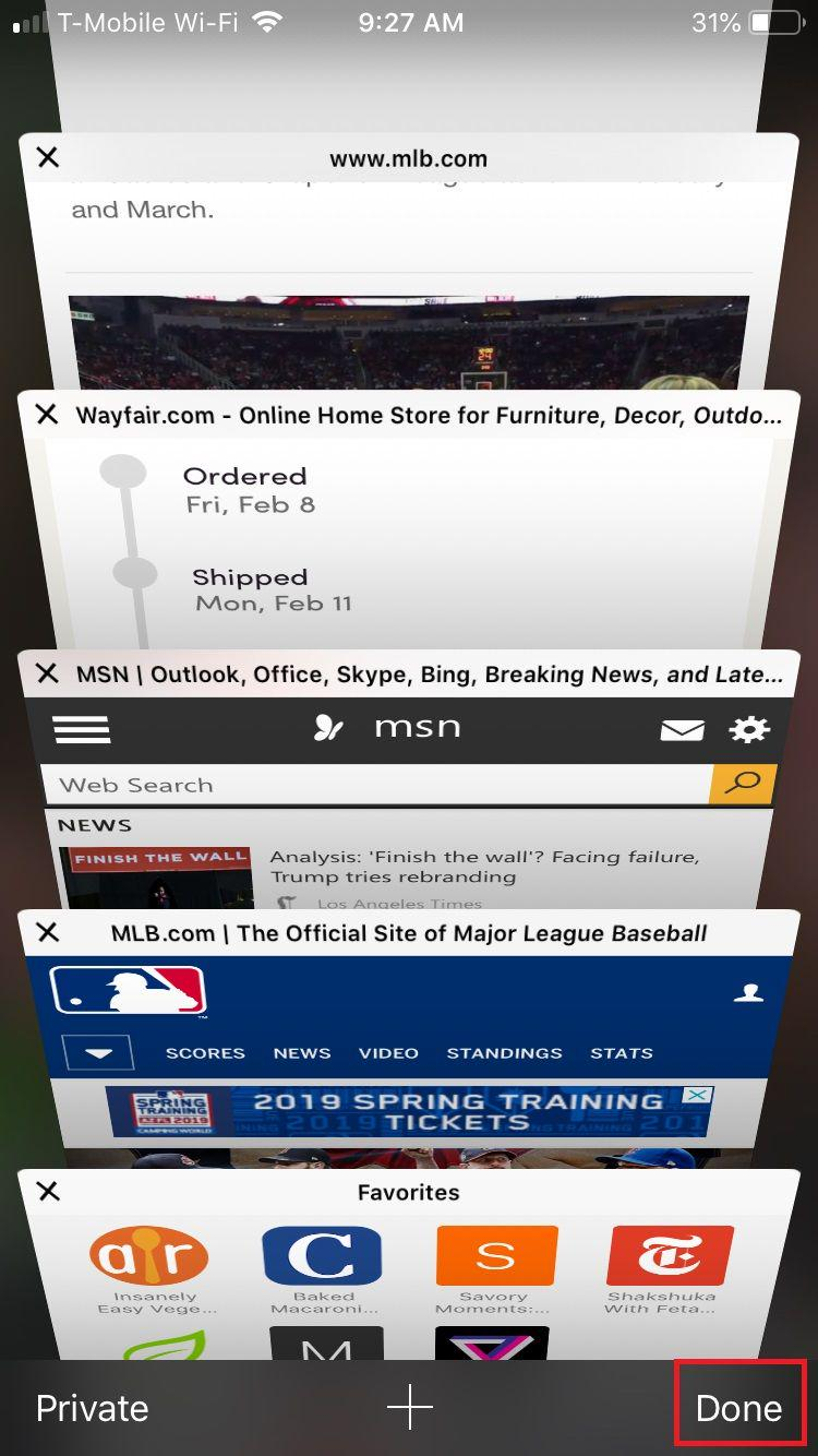 Safari all tabs on display