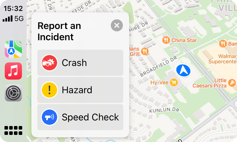 Report an Incident - CarPlay in iOS 15