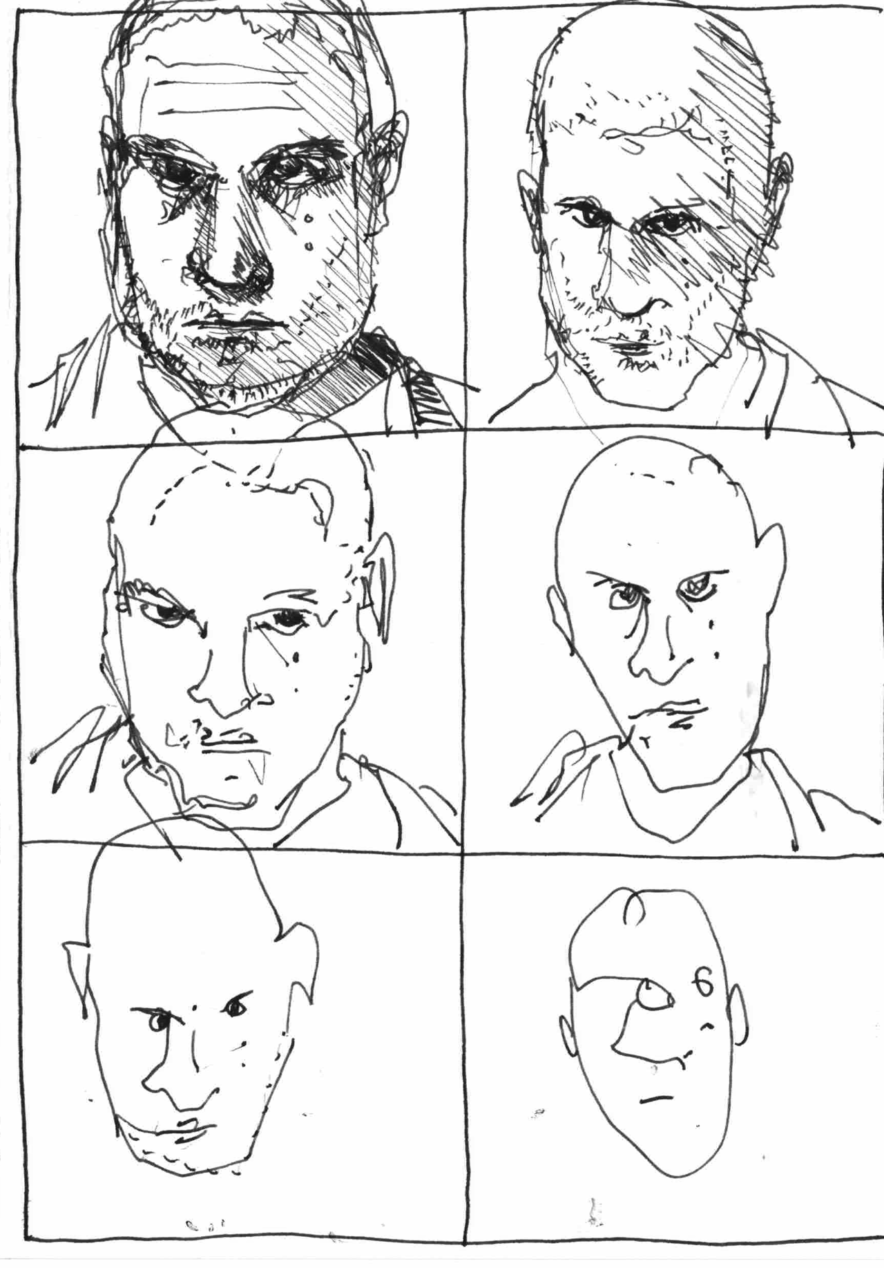 6 drawings of my face