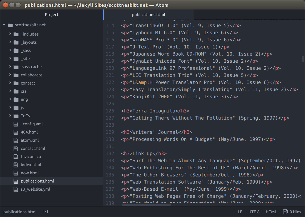 Editing a file in Atom