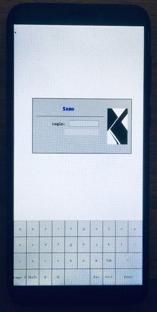 Pinephone running Sxmo, login screen