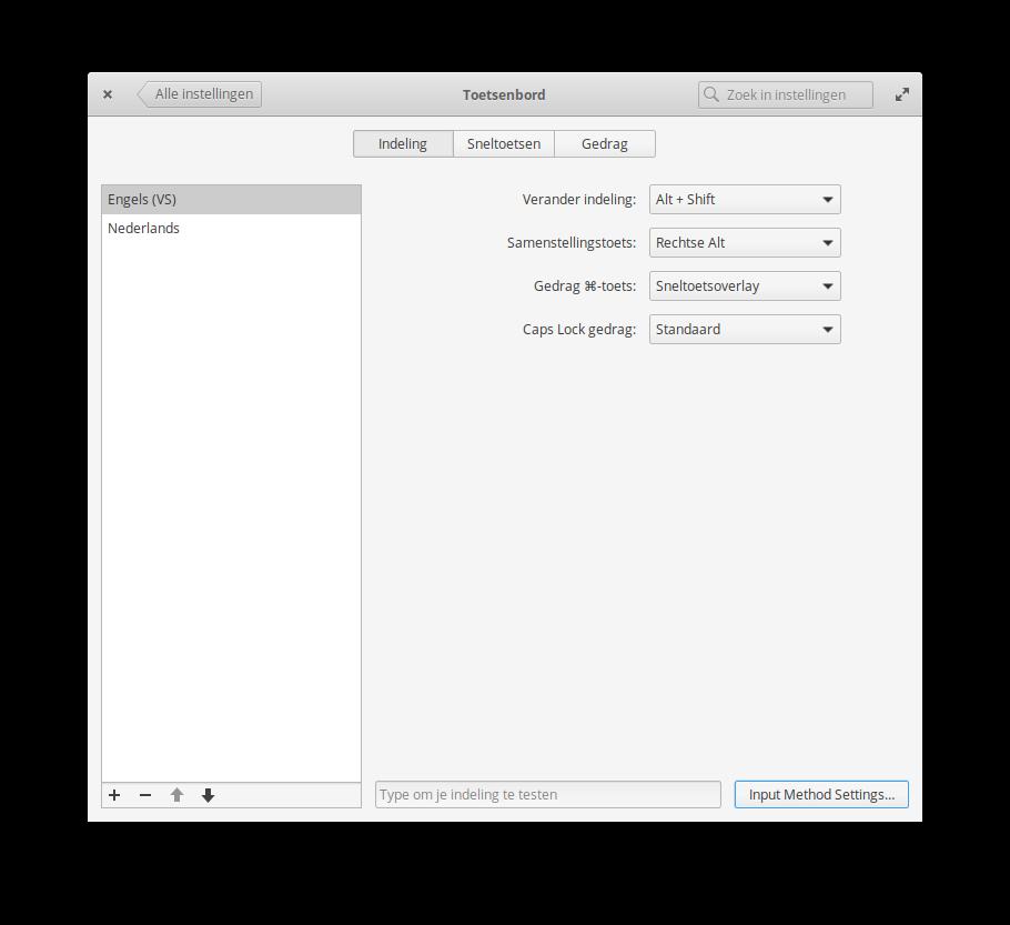 Configuration keyboard